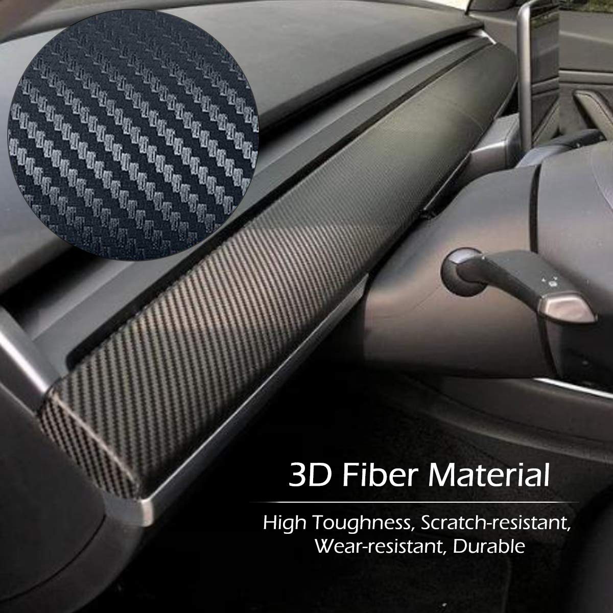 Carbon Fiber Vinyl Wrap Stickers with Air Realease Bubble Free TeslaOwner Tesla Model 3 Car Interior Dashboard Wrap Kit Stickers