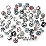 ZALAGO Mix Snap-Buttons Strass Charm Chunk Beads 12MM fuer DIY Schmuck Zubehoer 50Stk