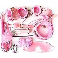 LVENY Böñdägë Set 10 Pcs SM Kit,Exquisite Leather Crop Bundle Tight Binding,Leather Handcuffs Set Cosplay Toys for…