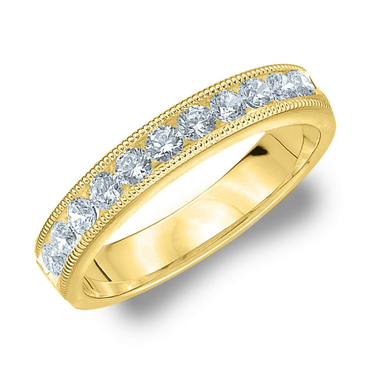 Timeless Diamond Wedding Band for Women.50 CTTW in 14K Yellow Gold, Finger Size 7
