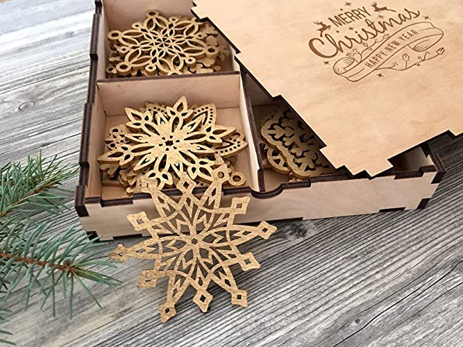 Wood Christmas Decorations.Amazon Com Wood Christmas Decoration Snowflake Ornament