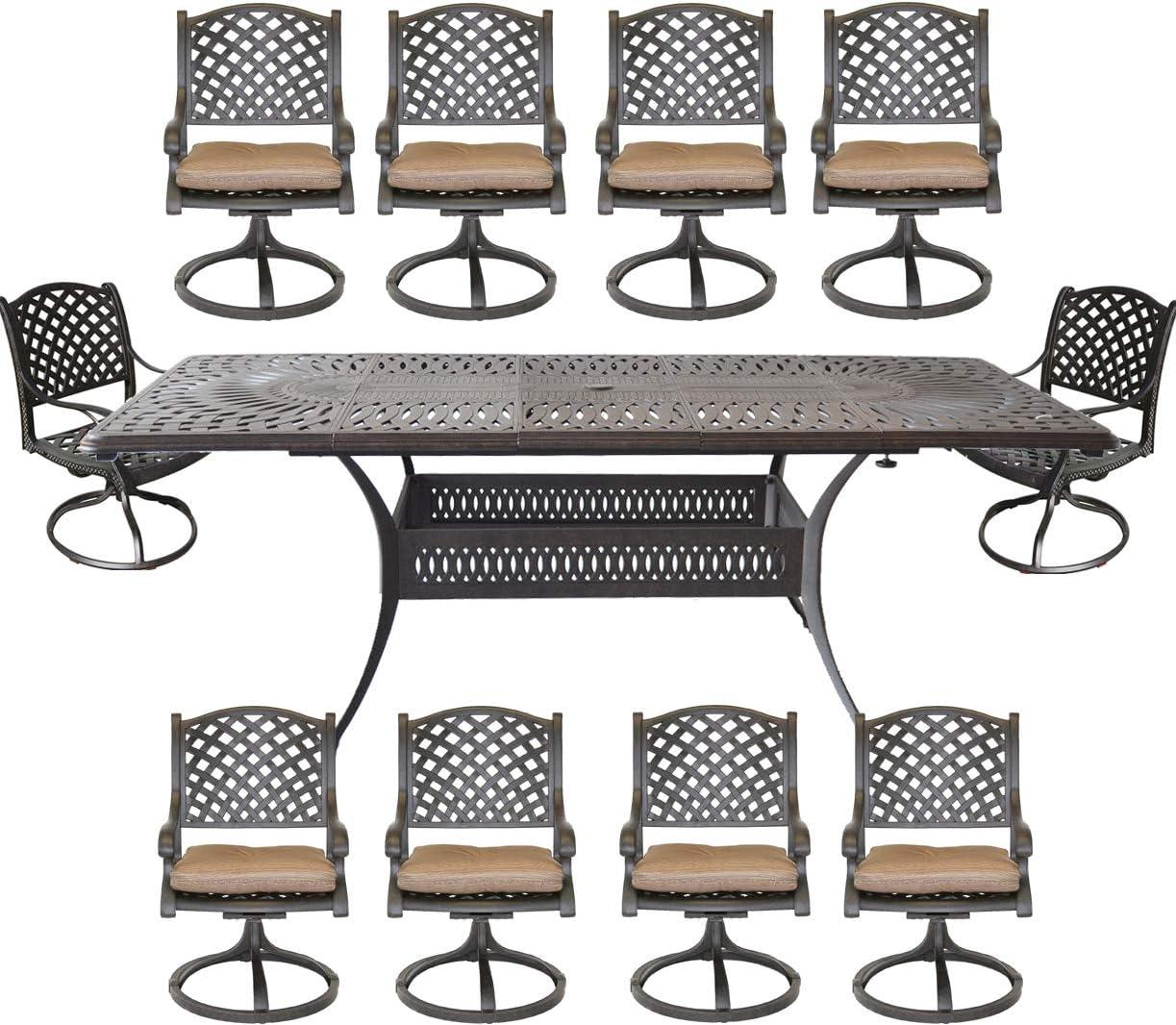 Amazon Com 11 Piece Outdoor Dining Set Extendable Table Seats 10 With Umbrella Hole Swivel Rocker Patio Chairs Cast Aluminum Furniture Garden Outdoor