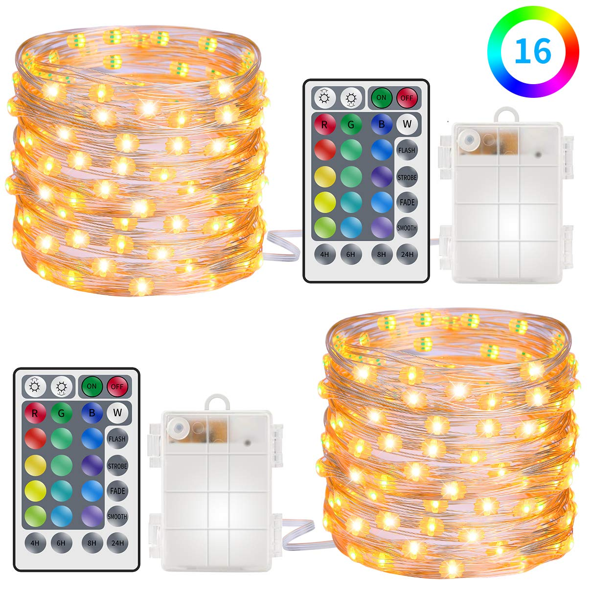 MINGER Govee String Lights 16.4FT 50 LED RGB Multi Color Fairy Lights with Battery Case Remote Control for Indoor and Outdoor Decor 2 Pack