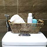 Small Wicker Baskets for Bathroom, Kitchen and Home Decor | Set of 2 Seagrass Baskets with Handles for Table, Toilet Tank Topper, Hand Towel, Paper Holder | Straw Wire Woven Little Pretty Baskets