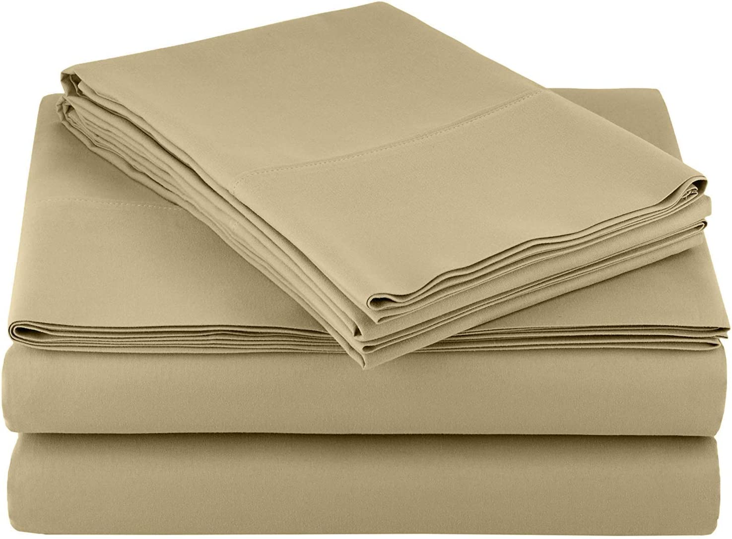 Ras Décor Linen Sheets for Motorhomes & Camper Beds,RV Sheets 72x75 Short King,Fit up to 10 Inch Deep 100% Cotton, Taupe - 4 Piece Sheet Set