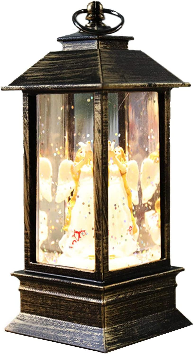 Purelemon Christmas Snow Globe Lantern, Battery Operated Lighted Vintage Style Lantern Hanging Flameless Lamp for Christmas Home Decoration, Glitter Angel