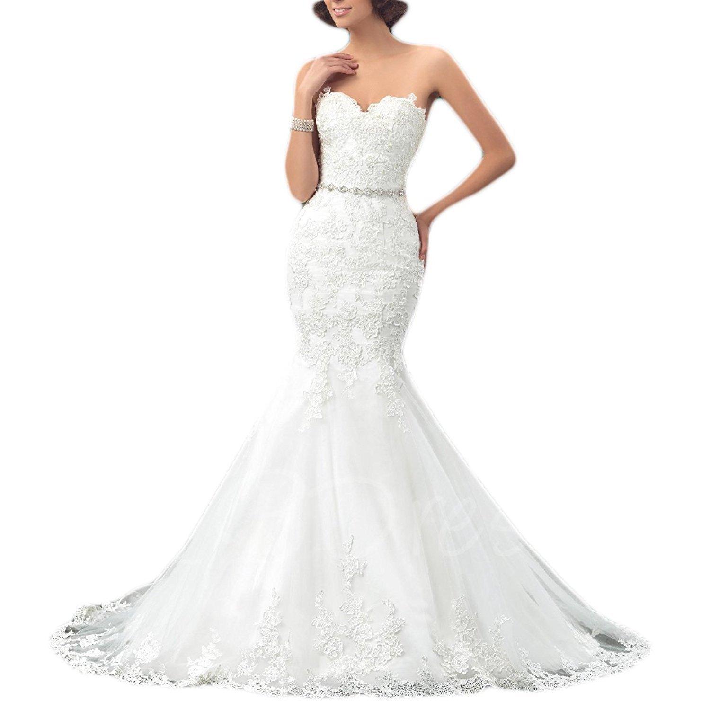 Ivory Fannybrides Womens Sweetheart Mermaid Wedding Dress Lace Long Bridal Dresses