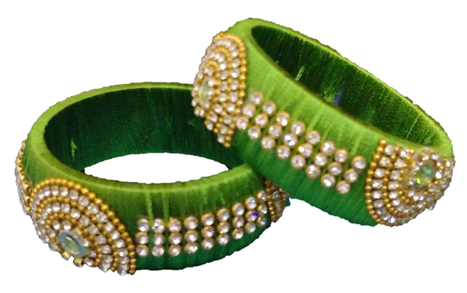 Buy Mohana Silk Thread Jewellery Green Silk Thread Bangles for ...
