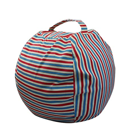 Excellent Ehonestbuy Kids Bean Bag Chair Stuffed Animal Storage Stripe Cotton Canvas Toy Organizer For Kids Bedroom Storage Solution For Plush Toys Towels Onthecornerstone Fun Painted Chair Ideas Images Onthecornerstoneorg