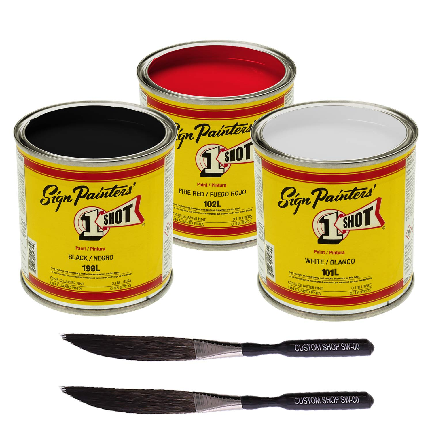 One Shot Hot Rod Color Kit White, Black & Red with Custom Shop #00 Sword Pinstriping Touch-Up Brushes (2) by 1-Shot