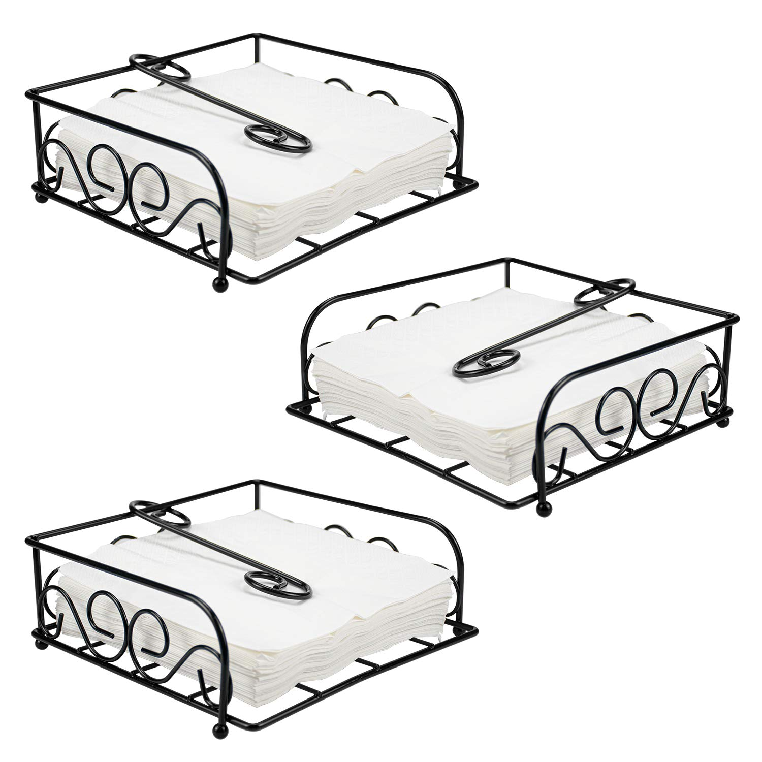 Kingrol 3-Pack Elegant Flat Metal Napkin Holder with Weighted Pivoted Arm by Kingrol