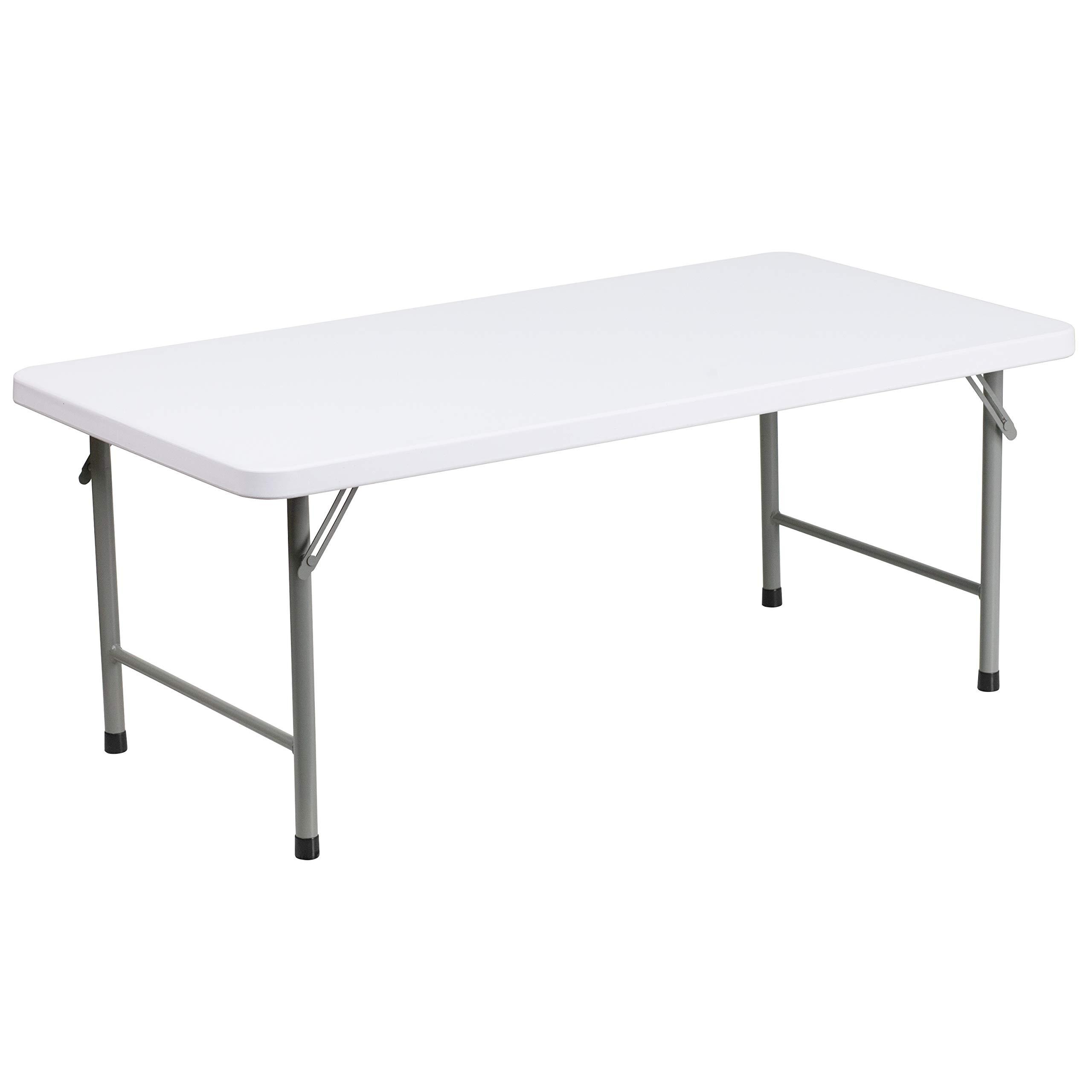 Flash Furniture 4-Foot Kid's Granite White Plastic Folding Table by Flash Furniture