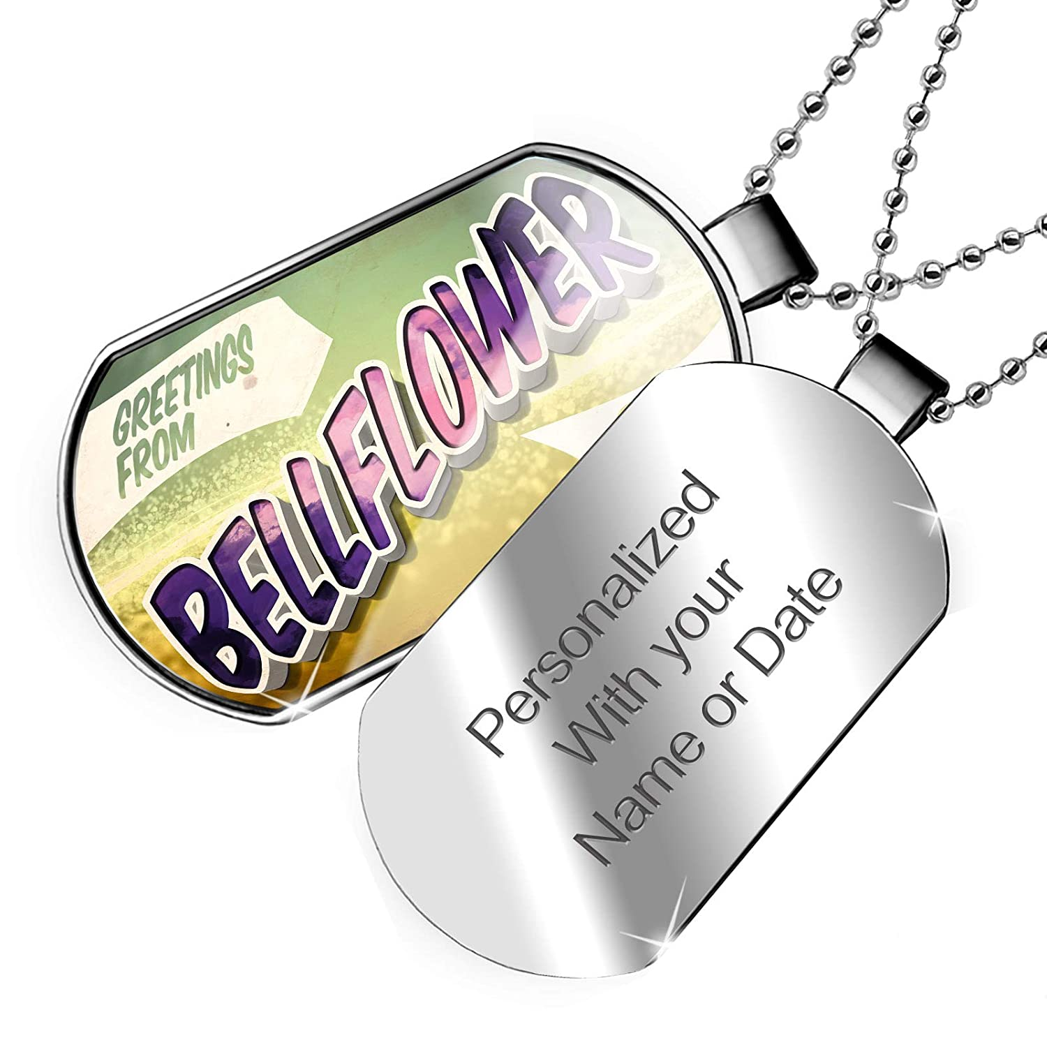 NEONBLOND Personalized Name Engraved Greetings from Bellflower Vintage Postcard Dogtag Necklace