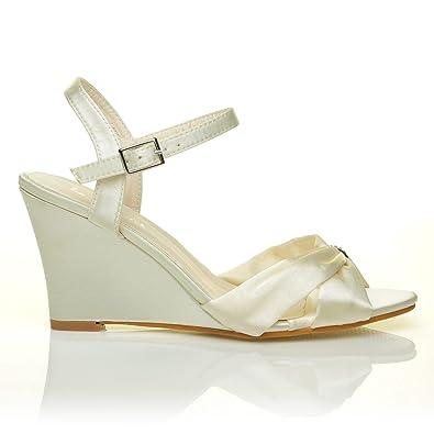 fd93fc0cc8d ANGEL Ivory Satin Wedge High Heel Strappy Bridal Shoes Size UK 4 EU ...