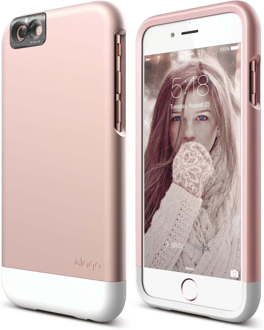 iPhone 6S Case, elago [Glide Cam][Rose Gold/White] - [Mix and Match][Premium Armor][True Fit] – for iPhone 6S Only