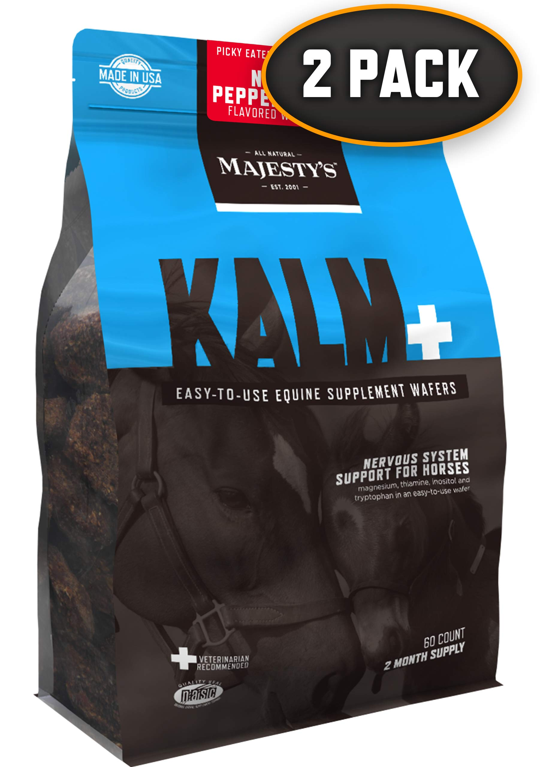 Majesty's Kalm+ Peppermint Wafers - Horse/Equine Balanced Behavior & Nervous System Function Supplement - Tryptophan, Vitamin B1 - Calming, Eases Anxiety/Fear/Anger - 4 Month Supply (2 Bags/120 Count) by Majesty's