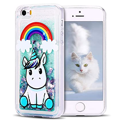 e1439af90f2 SpiritSun Funda iPhone 5 / 5S Silicona TPU Carcasa Transparente Líquido  Bumper Tapa Quicksand Cubierta Trasero