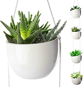 4 Tier Plant Hanging Holder White Ceramic Planters for Wall Ceiling Herb Garden