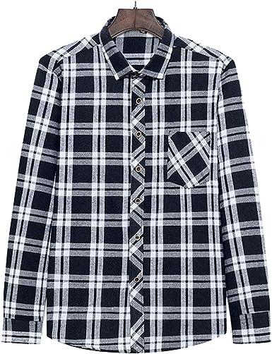 yunhou Hombre Camisa A Cuadros Slim Fit Camisa Casual Seccion ...