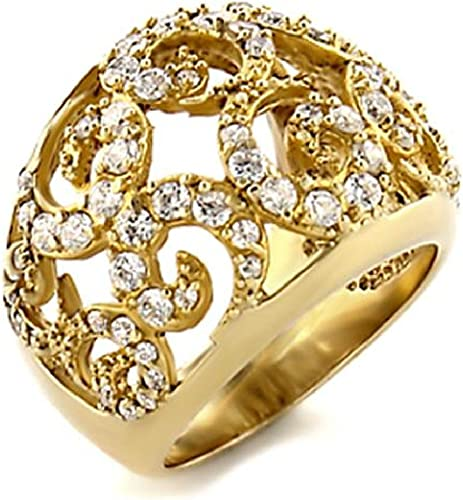 Ladies Yellow Gold Plated Fashion Ring Band Embedded with Round CZ Clear
