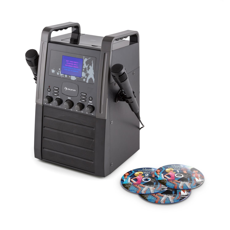 Auna KA8P-V2 BK • Sistema Karaoke • Karaoke per Bambini • Set Karaoke • Display TFT 9 cm • 2 x Microfono • 3 CD Karaoke Inclusi • Uscita RCA • CD • CD+G • MP3 • Ingresso AUX • Effetto Eco •