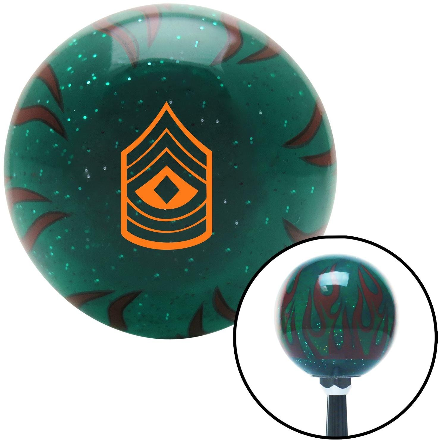 Orange 08 First Sergeant American Shifter 266544 Green Flame Metal Flake Shift Knob with M16 x 1.5 Insert