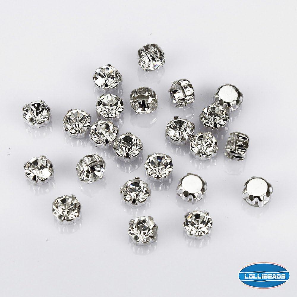 Abalorios de cristal LolliBeads, diamantes de imitación en cristal checo con base de latón bañado en plata, vidrio, White Crystal-7mm-50pcs