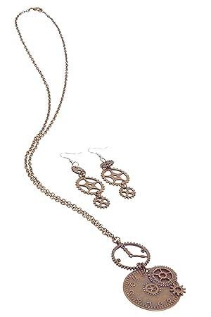 Bristol Novelty BA3226 - Collar con reloj y pendientes para mujer, color bronce: Amazon.es: Juguetes y juegos