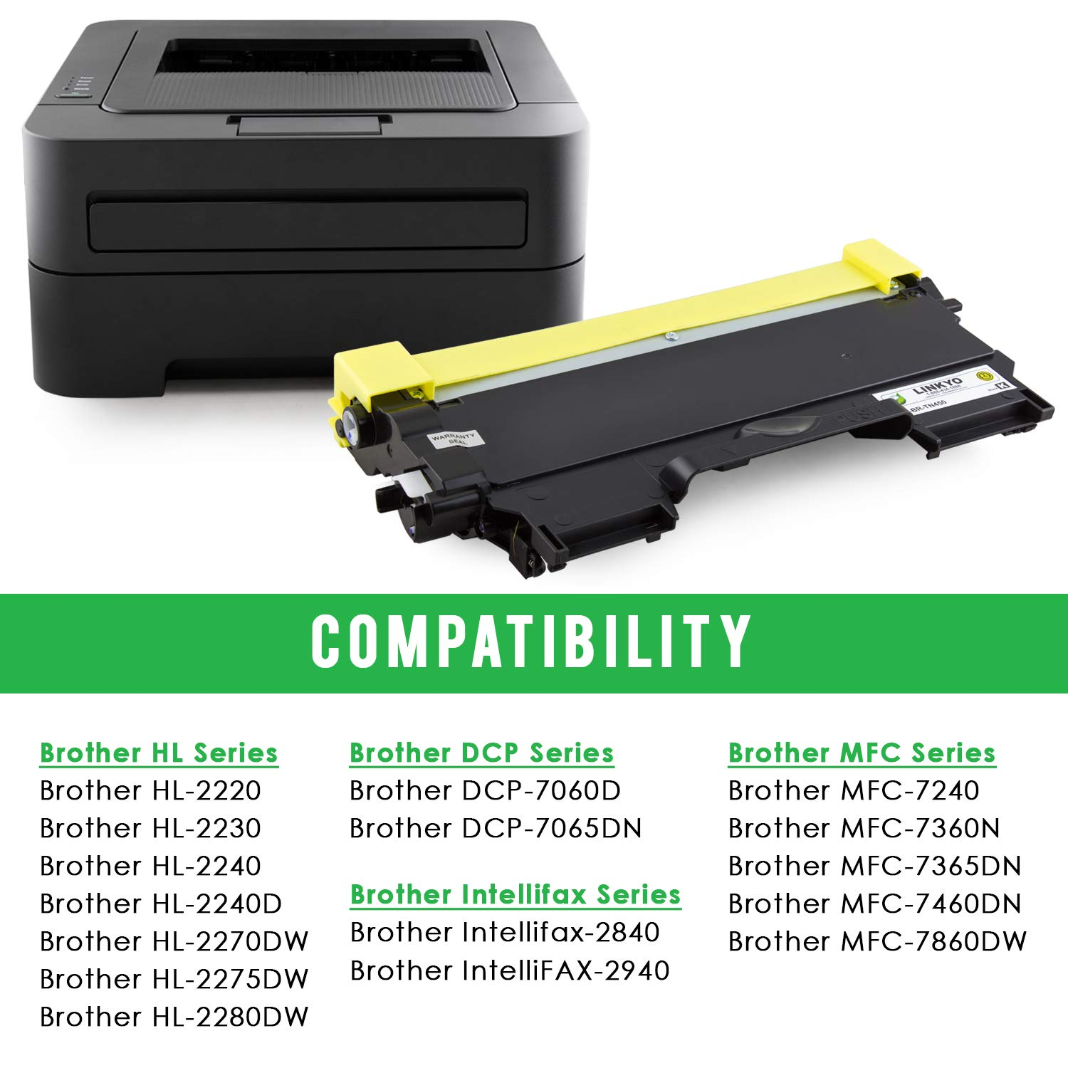 High Yield Toner Refill for HL-2230 with Reset Flag Gear MFC-7860DW HL-2240 DCP-7060 Lever Included DCP-7065DN TN-420, TN420 MFC-7360 HL-2270 MFC-7460DN HL-2280 DCP-7060D Compatible with Brother TN-450 TN450