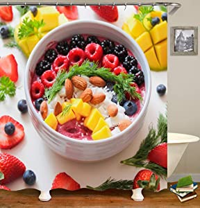 Funny Summer Fruit Platter Shower Curtain, Diverse Fruit Foods colorful Shower Curtain for Bathroom Decor with Hooks. 59x70Inch