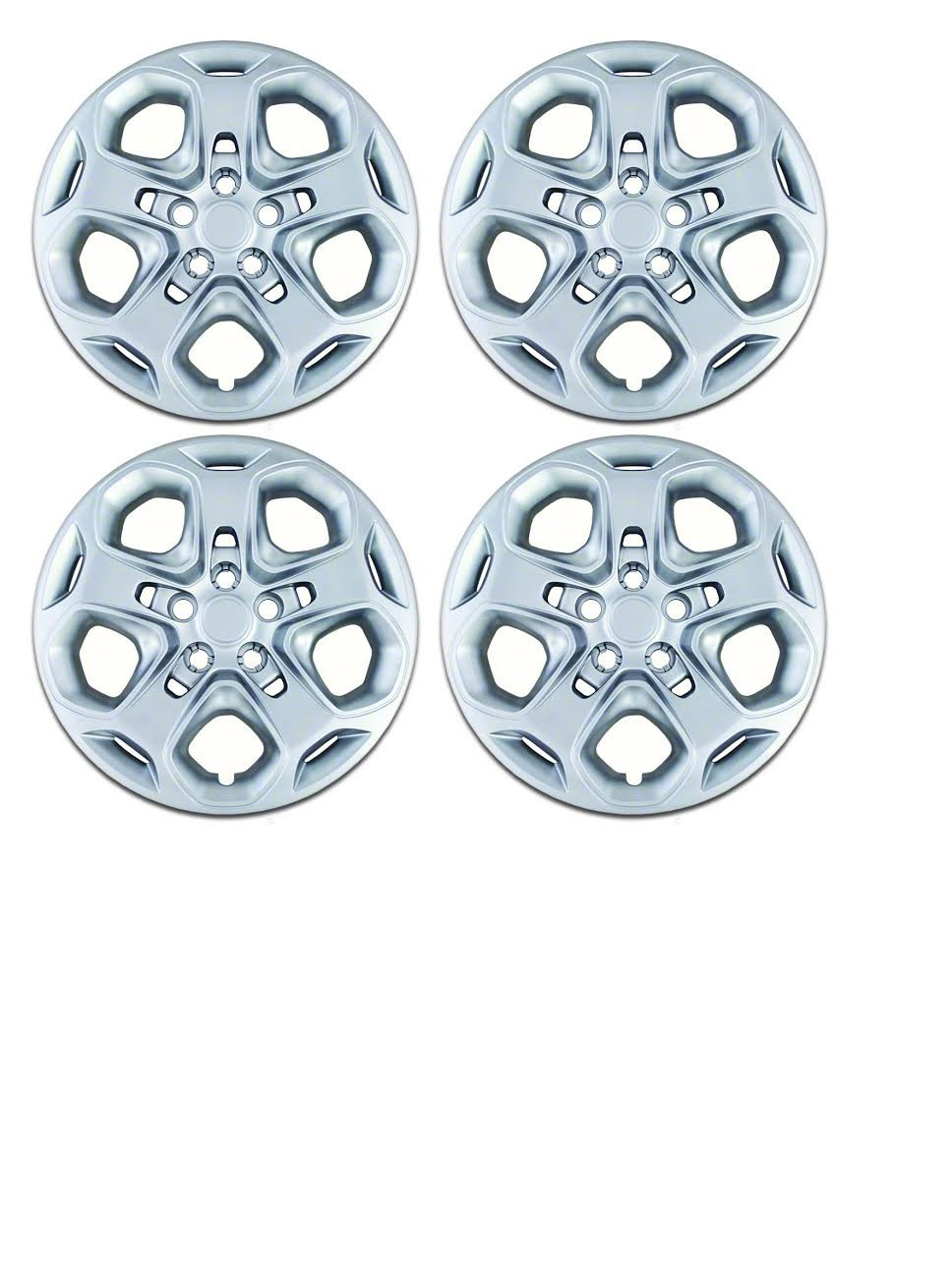 Set of 4 Silver 17 Inch Ford Fusion 5 Spoke Hubcap Wheel Covers w/ Push On Retention System - Aftermarket: IWC457/17S