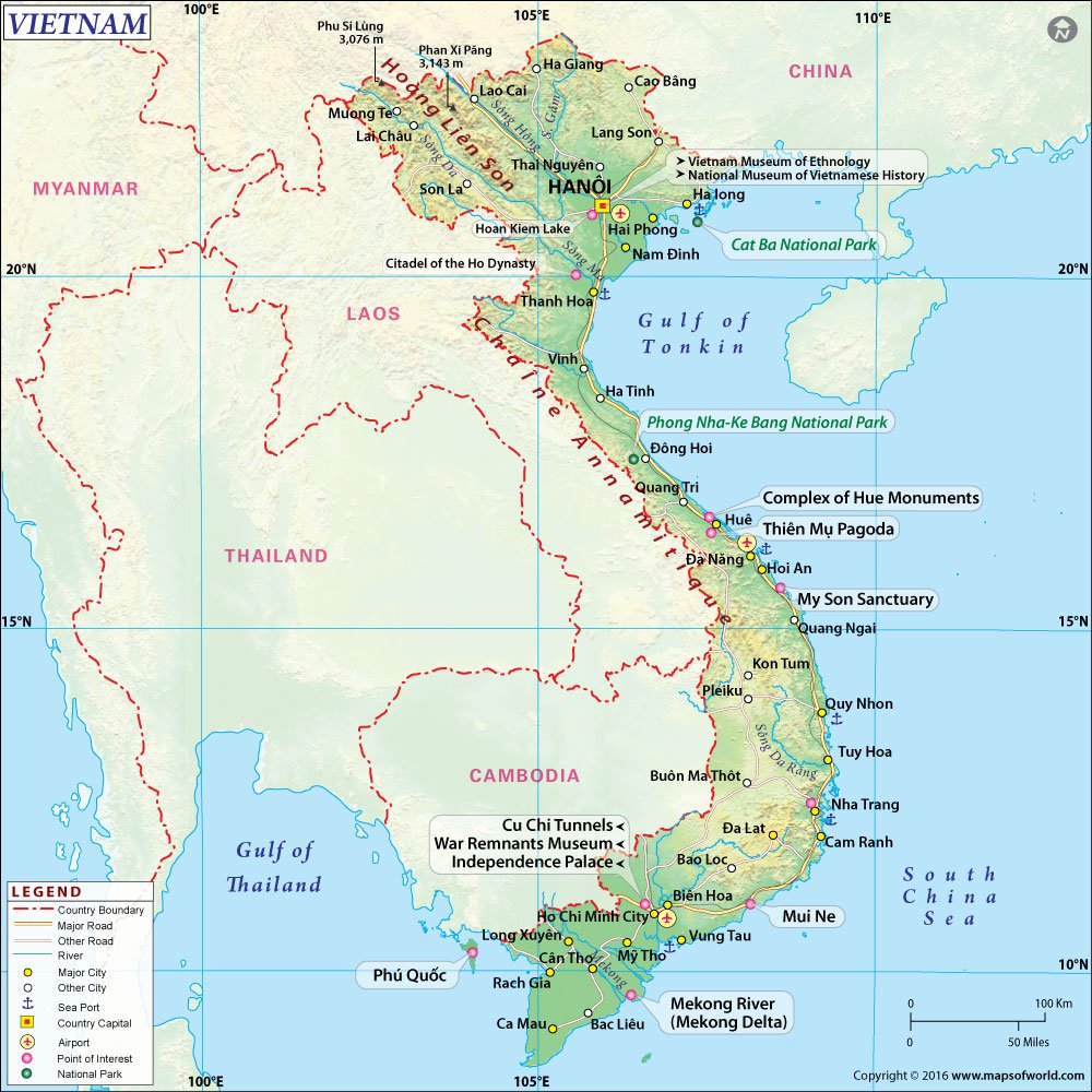 Haiphong Vietnam Map.Amazon Com Vietnam Map Vinyl 36 W X 35 95 H Office Products