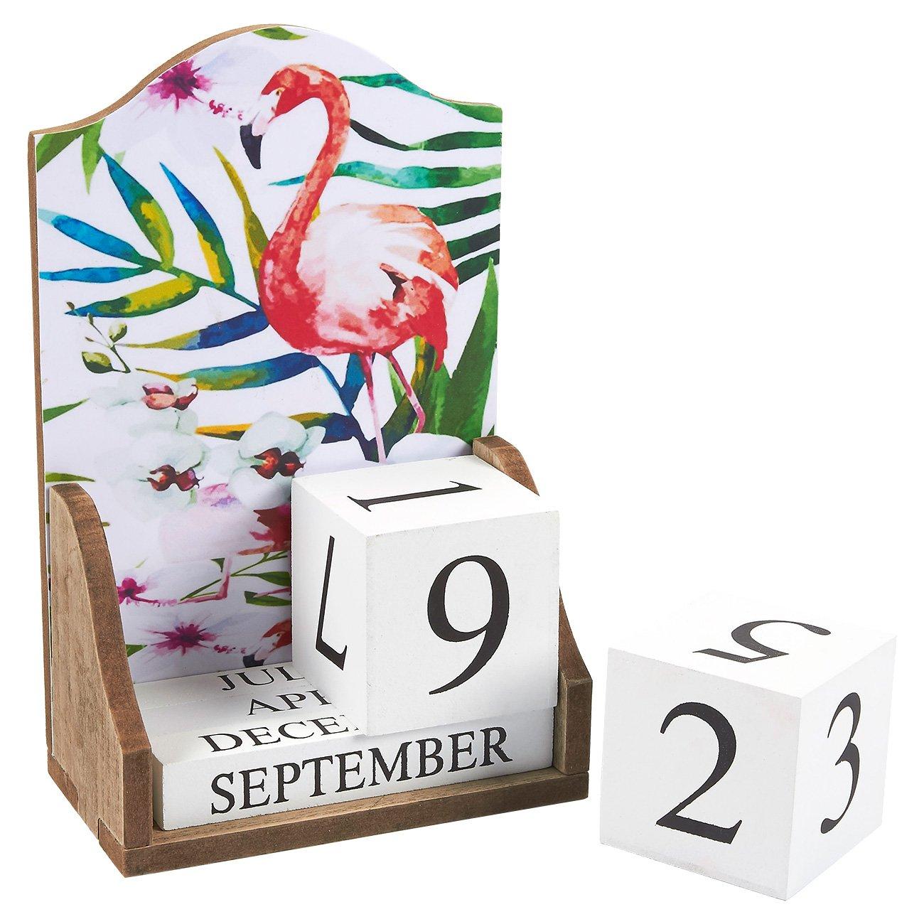 Wooden Desk Calendar - Wooden Block Perpetual Calendar for Home and Office Desk Decor, Flamingo Design, 5.5 x 8.75 x 3 inches