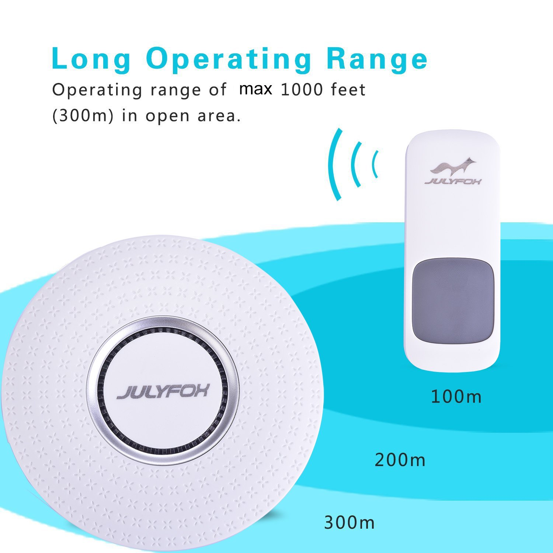 Waterproof Doorbells 2 Receivers Wireless Julyfox Plug In Doorbell Programmable Led Flashers With Flashing Lights