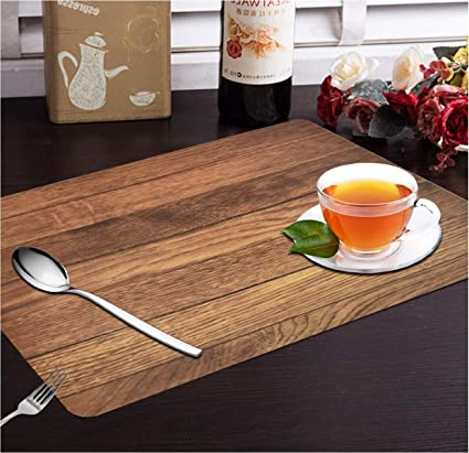 Yellow Weaves™ 6 Piece Wooden Style PVC Dining Table Placemats, Colour - Brown
