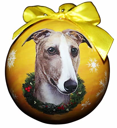 """Greyhound Fawn Christmas Ornament"" Shatter Proof Ball Easy To  Personalize A Perfect Gift - Amazon.com:"