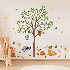 decalmile Forest Animals Tree Wall Decals Deer Fox Owl Wall Stickers Baby Nursery Kids Bedroom Playroom Wall Decor(Tree H: 56