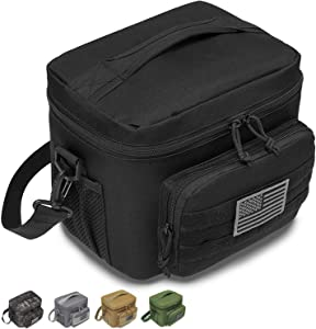 DBTAC Tactical Lunch Bag, Large Insulated Lunch Box for Men Women Adult | Durable School Lunch Pail for Kids | Leakproof Lunch Cooler Tote for Work Office Travel | Soft Easy-Clean Liner x2, Black