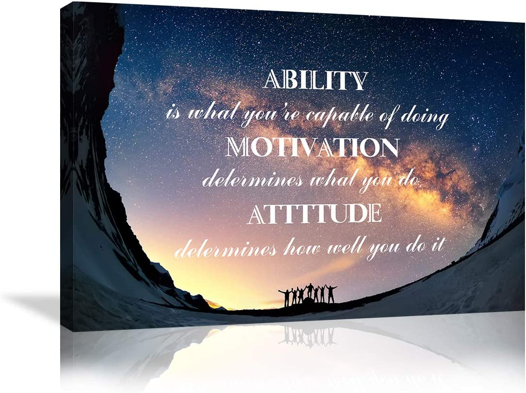 Inspirational Wall Art Starry Sky Paintings Ability is What You're Capable of Doing Motivation Attitude Entrepreneur Quotes Posters Prints Motivational Poster Wall Decor for Office Home Framed Ready to Hang
