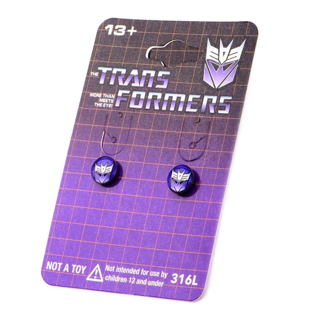 Transformers Logo Stud Earrings Autobot Round Print Stainless Steel