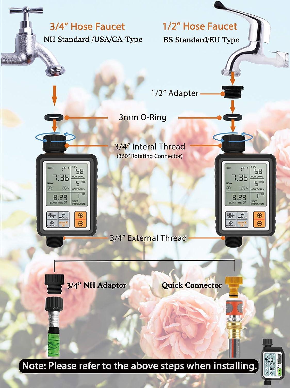 ordenador de riego con 5 accesorios para flores de jard/ín programador de riego autom/ático con salida c/ésped Homitt Temporizador de riego control manual