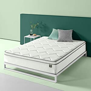 Zinus 12in Charcoal Euro Top Bonnel Spring Mattress, Twin