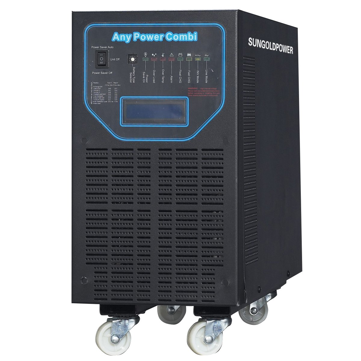 SUNGOLDPOWER 6000W Peak 18000W APV Low Frequency Pure Sine Wave Inverter DC 48V AC Input 240V Split Phase AC Output 120V 240V Battery Charger MPPT 40Amp Solar Charger Controller LCD.48KG