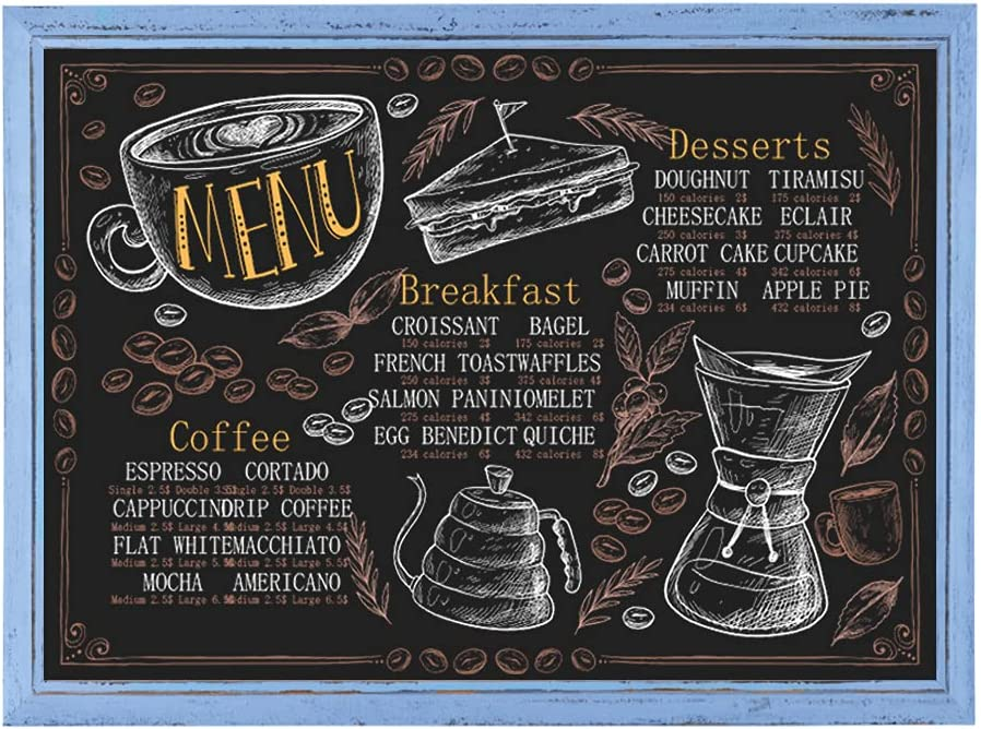 Rustic Wood Framed Magnetic Chalkboard Signs BECTSBEFF 21.8 x 31 Large Chalkboard White Outdoor Free Standing Chalkboard Easel for Weddings Hanging Magnet Board for Wall D/écor and Restaurant