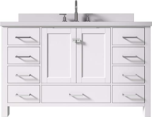 "ARIEL 55"" Inch White Bathroom Vanity"