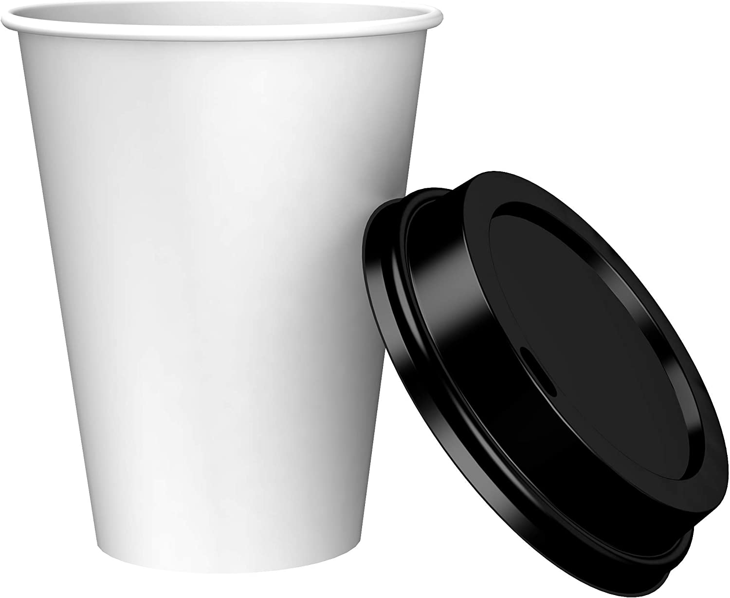 Amazon Brand - Solimo 12oz Paper Hot Cup with Lid, 150 Count