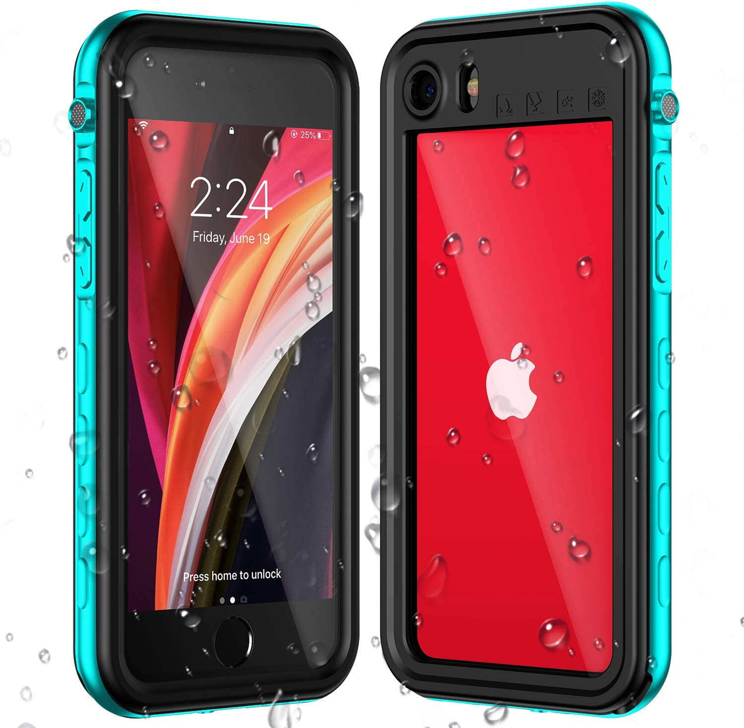 Baronage iPhone SE 2020 Waterproof Case, iPhone 7/8 Waterproof Case, Clear Sound Protective Case with Built-in Screen Protector, Waterproof Shockproof Dustproof for iPhone SE 2020/8/7 (Grass Blue)