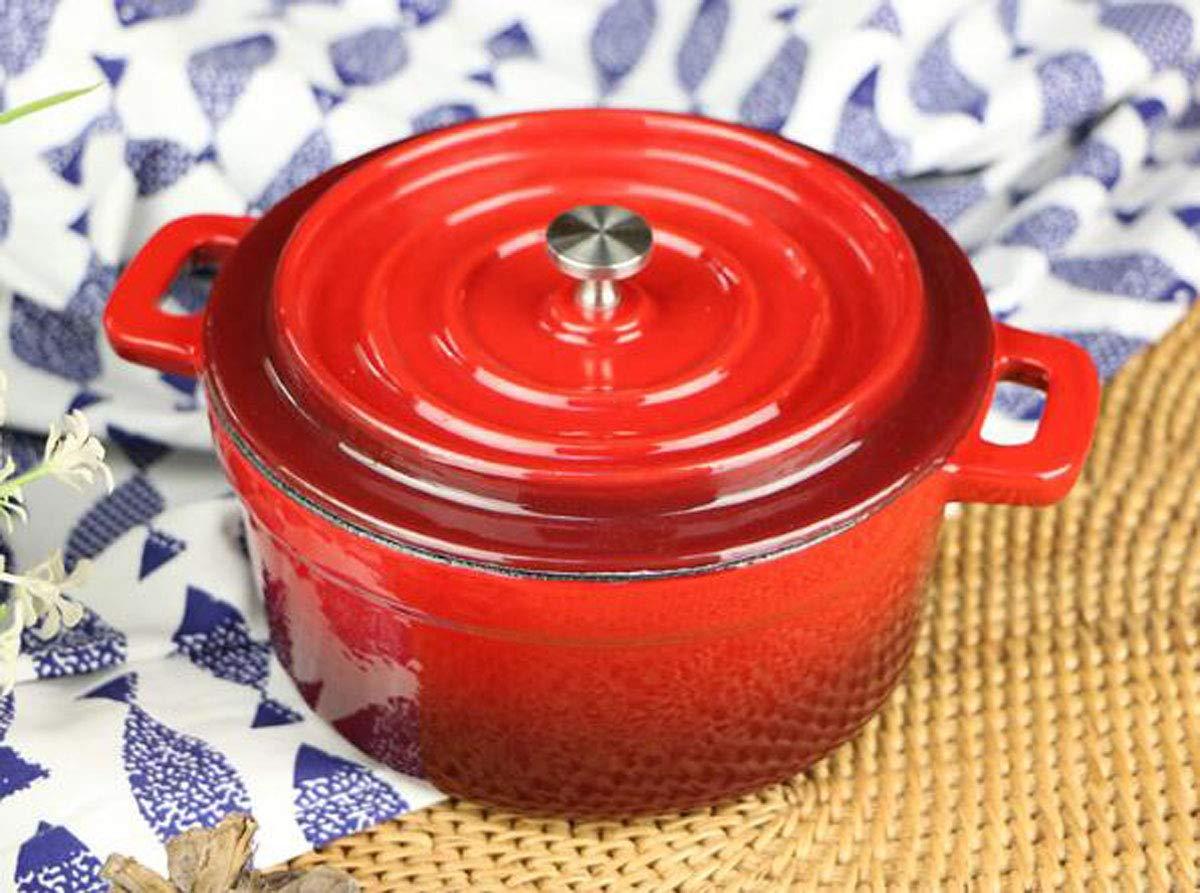 Huaishu Antiadherente Sartén de Hierro Fundido Olla Vaporera Crisol Sartén Cocina de inducción Rojo 14cm: Amazon.es: Deportes y aire libre