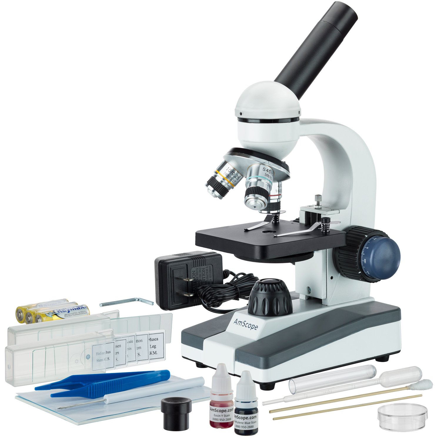 AmScope M150C-SP14 40X-1000X Portable Student Microscope with Slide Preparation Kit by AmScope