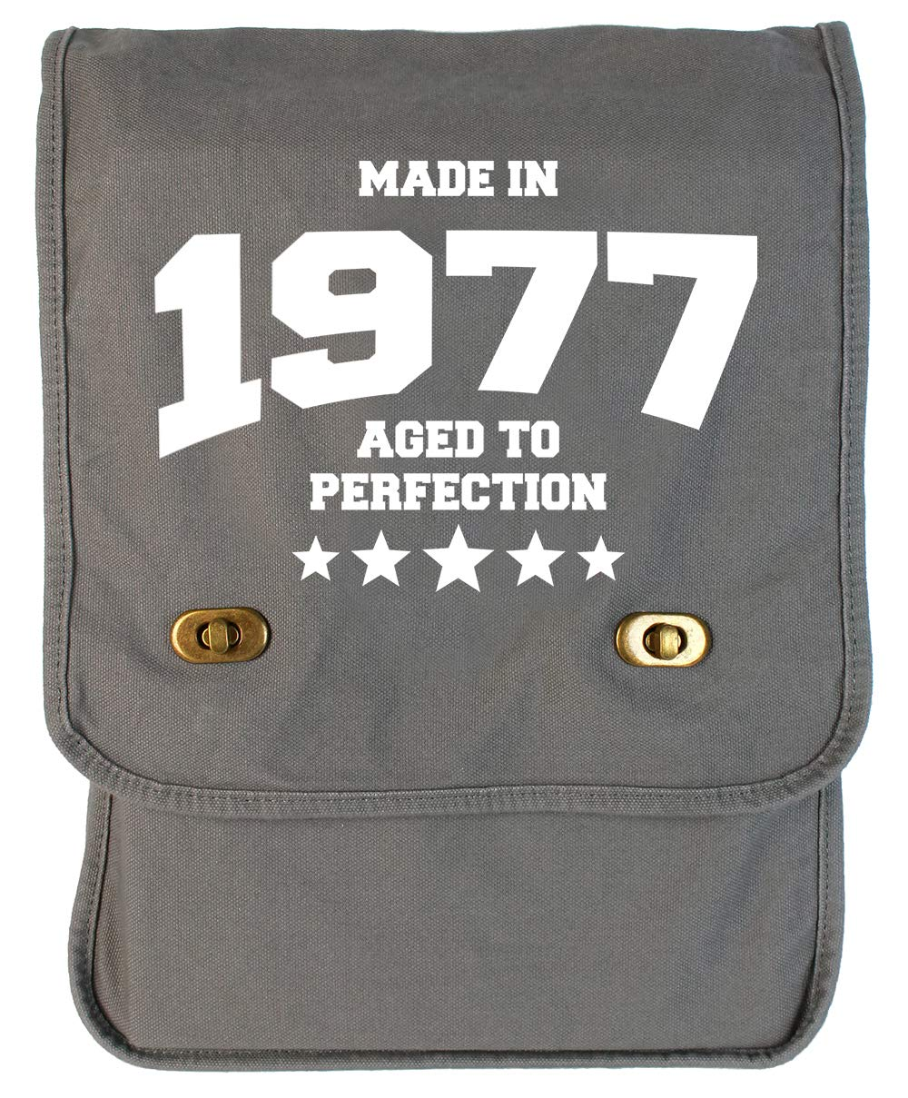Tenacitee Athletic Aged to Perfection 1977 Grey Brushed Canvas Messenger Bag